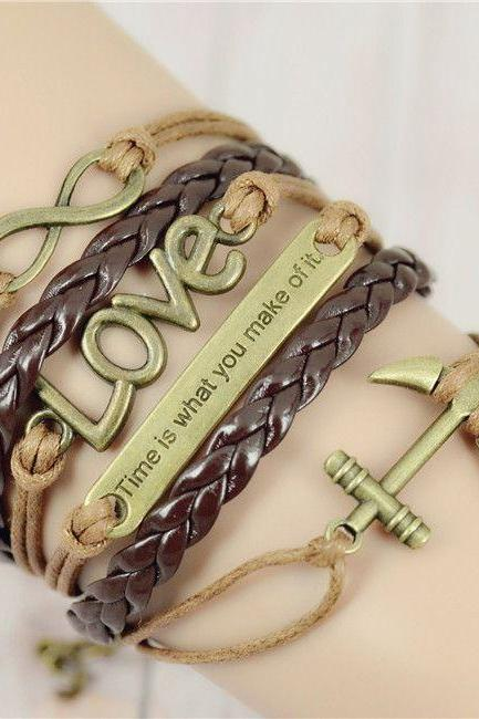 Time is what you make of it inspiration girl bracelet