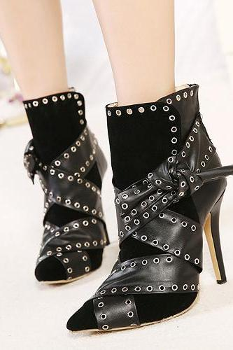 Black Faux Leather Eyelet Embellished Pointed Toe High Heel Boots