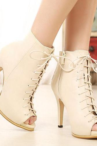 Women Peep Toe Lace-Up High Heel PU Leather Boots with Side Zipper Closure