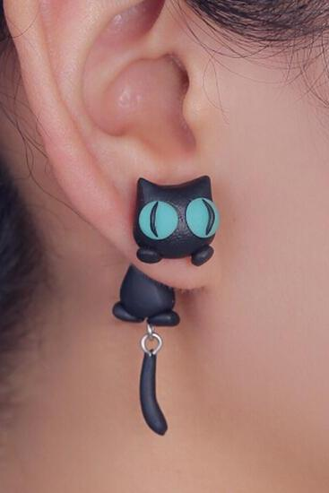 Polymer Clay Black Cat With Green Eyes Earring