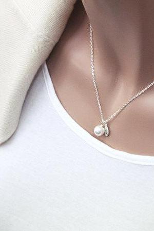 Pearl necklace, Sterling Silver pearl necklace, initial necklace, Personalized, Bridesmaid gift,white pearl, Friendship,love, Christmas gift