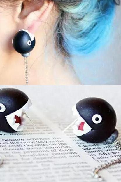 Black Ear Biting Chain Chomp Earrings, Chomper Earrings, Easter Gift