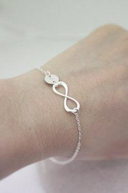 Sterling Silver Infinity bracelet,initial bracelet,Personalized, Bridesmaid gift, wedding,Infinite,Friendship bracelet, love,Mom bracelet