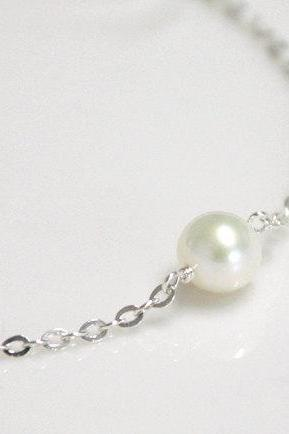 Single pearl & silver Necklace, Bridesmaids Gifts, Birthstone of June, Pearl Jewelry, white Swarovski Pearl