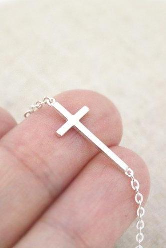 Sterling Silver Sideways cross bracelet, cross bracelet, simple bracelet, Christmas Gift