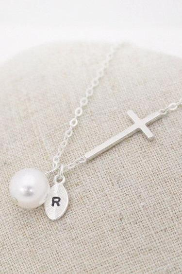 Sterling Silver initial necklace, Sideways cross necklace,Personalized, Bridesmaid gift,wedding,white pearl,Friendship, pearl necklace,cross