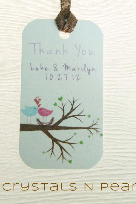 24 Love Birds Customised Gift Tags - Wedding Favor Tags - Thank you tags - Wedding Gift Tags