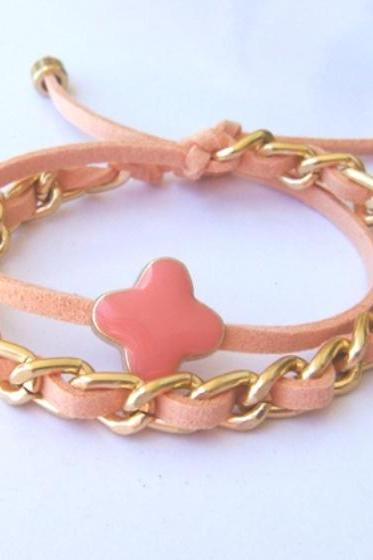 Coral Peach Pastel Double Wrap Summer Bracelet Gold Chain Coral Crosslet July Trend