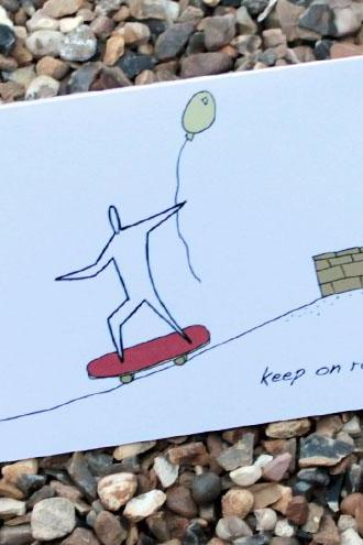 A6 Skateboard birthday card (anonymity range)