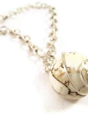 Necklace, Large Round White Turquoise Gemstone Pendant, Wire Wrapped White Ball Pendant