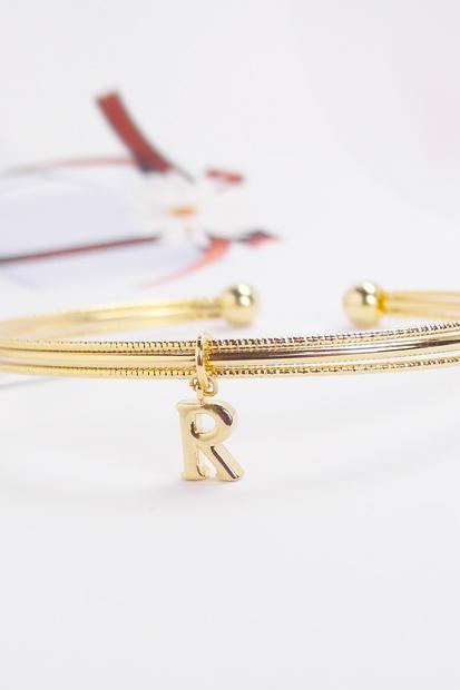 Initial Bangle, R Bracelet, Adjustable Bangle,Personalized Bangle Bracelet,friendship, Monogram Bracelet, Holiday Gift, Christmas Gift