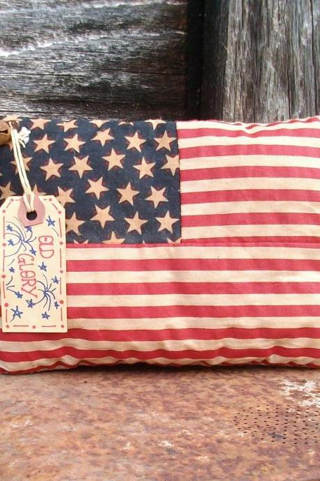 Primitive July 4 Flag Decoration - Shelf Sitter or Tuck - For Your Shelf, Mantel or Hutch