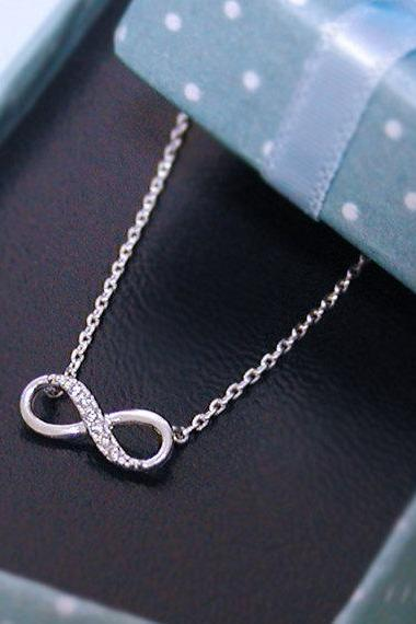 Tiny Infinity necklace in silver- bridesmaid gifts, birthday gift
