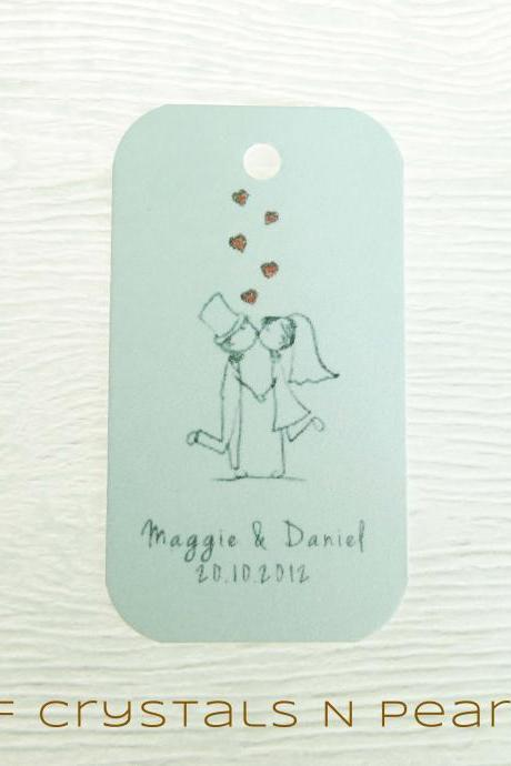 24 Kissing Couple Customised Gift Tags - Wedding Favor Tags - Thank you tags - Wedding Gift Tags - Baby Shower Tags