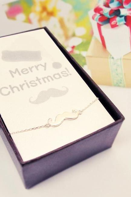 Sterling Silver Mustache Bracelet, Christmas Gifts Idea, Christmas Cards and Gifts