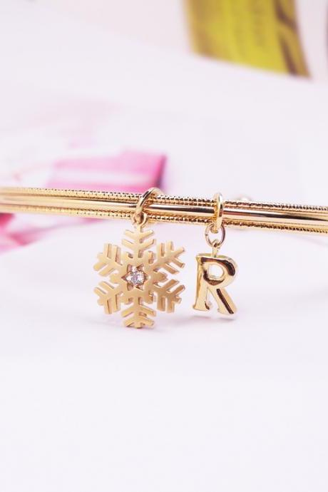 Crystal Snowflake Initial Bangle, Adjustable Bangle, Tiny Snowflake Bracelet, Holiday Gift, Christmas Gift