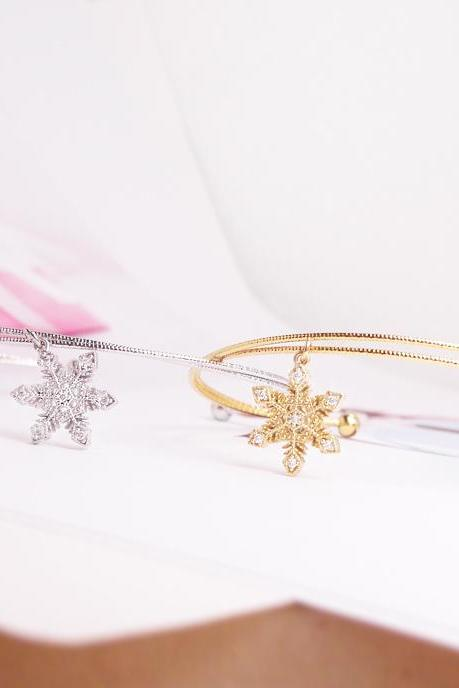 Shiny Snowflake Bangle, Tiny Snowflake Bracelet, Adjustable Bangle, Holiday Gift, Christmas Gift