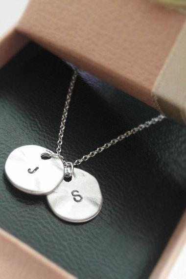 Initial necklace, Initial Double Round Pendant Necklace in white gold, personalized necklace, Hand Stamped Initial