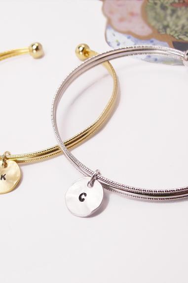 Coin Initial Bangle, Coin Initial Bracelet, Adjustable Bangle,Personalized Bangle Bracelet,friendship, Monogram Bracelet, Holiday Gift, Christmas Gift