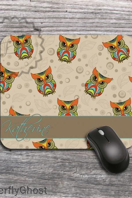 Baby Owls Computer Mousepad - Customized name or monogram Desk accessory padding