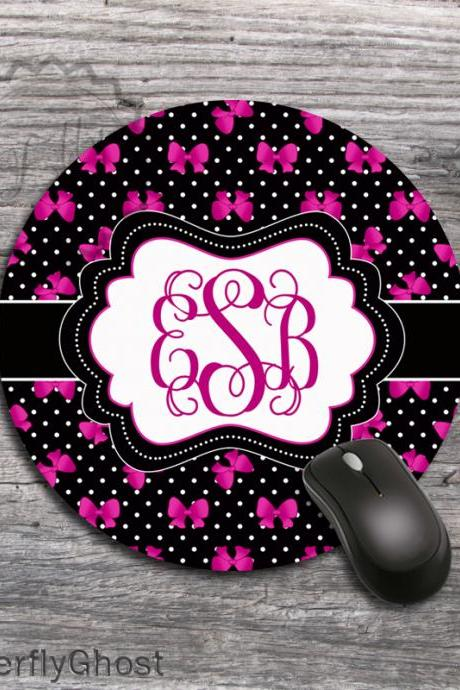 Computer Mousepad Hot Pink Ribbons - Special Design Round padding, office desk accessory