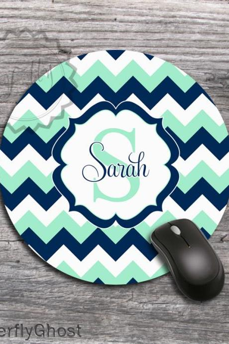Mint and Navy Blue Computer Mousepad - Office Favourite design desk accessory