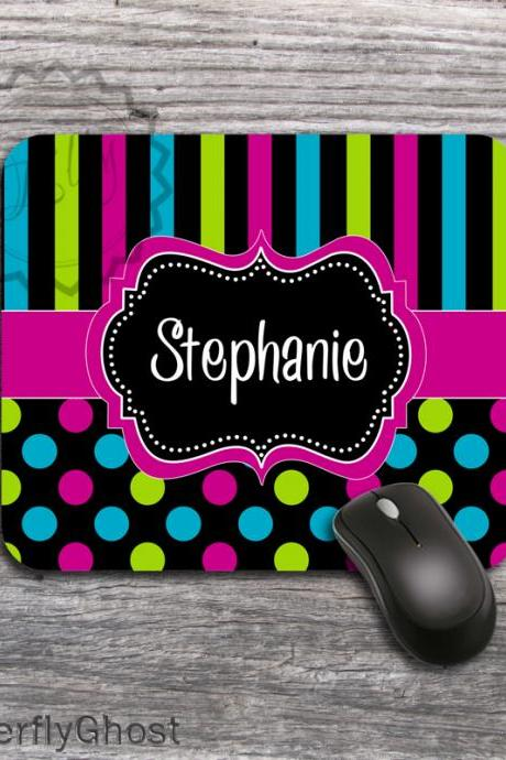 Mousepad Colorful Stripes and Dots design - office desk accessory boss gift