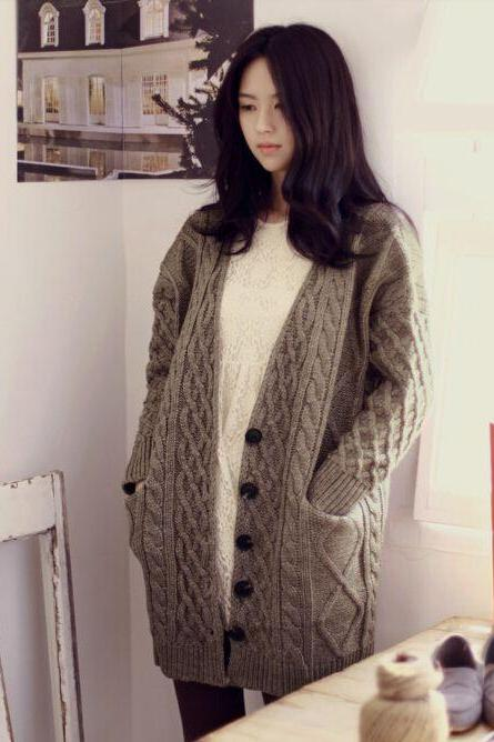 Cute Warm Cardigan Sweater in Grey and Apricot