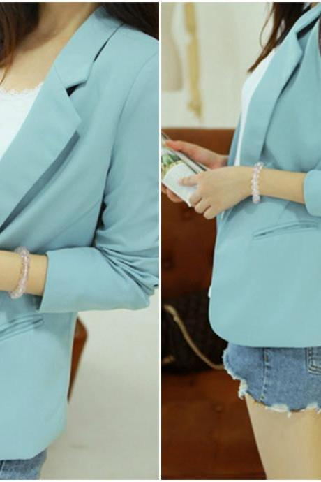 Cute Turn Down Collar Sky Blue Blazer