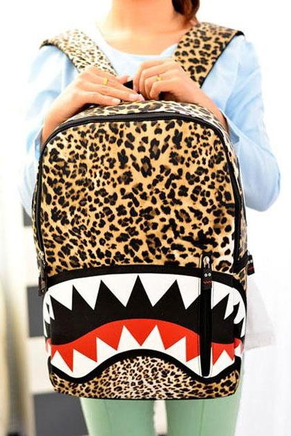 Fashion Leopard Printed Shark Schoolbag& Backpack