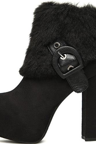 Cheap Winter Fashion Round Toe Zipper Design Chunky Super High Heel Black Suede Ankle Martens Boots