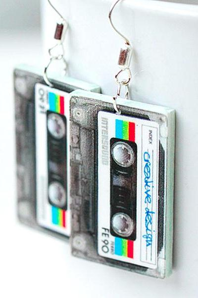 Retro cassette tape Earrings funky urban style decoupage jewelry