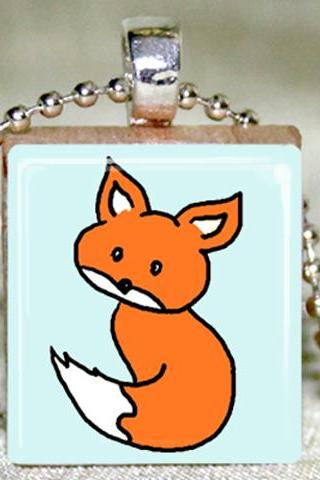 Little Fox Scrabble Pendant with Necklace and Matching Gift Tin