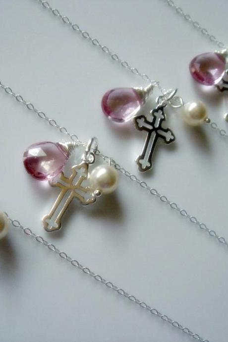 Set of 5 Pink Topaz Sterling Silver Cross Bridesmaid Necklace