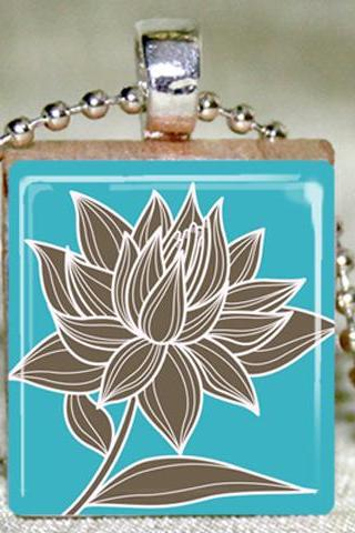 Magnolia on Teal Scrabble Pendant with Necklace and Matching Gift Tin