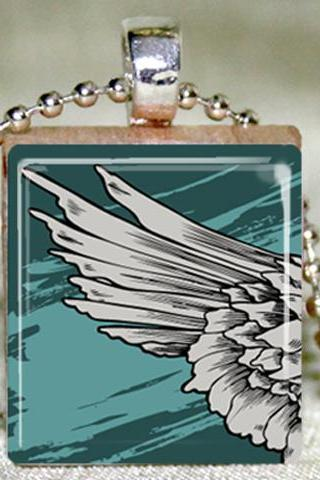 Angel Wing Scrabble Pendant with Necklace and Matching GIft Tin