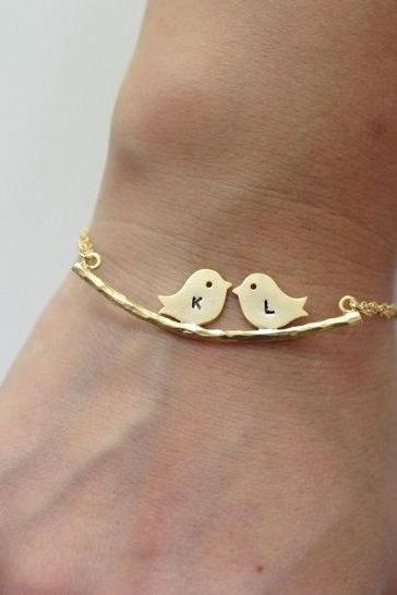 Two Birds On The Branch Bracelet, Two Love Birds, initial bracelet, Branch Bracelet,Couple, Kissing Love Birds, Personalized bracelet