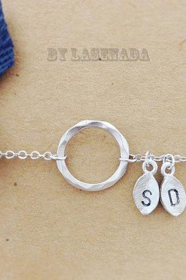 Karma circle bracelet with Double Leaf Initial Charms,eternity, wedding Jewelry, bridal,bridesmaid gifts