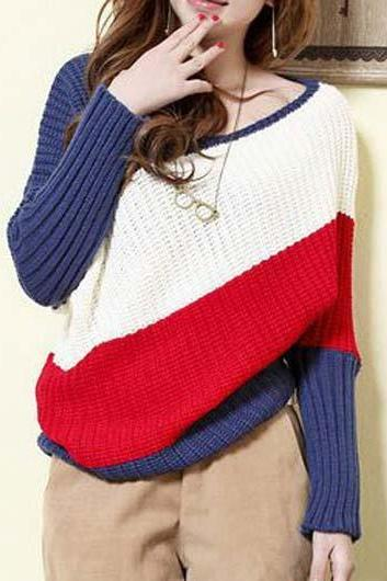 Cute Multi Colored Round Neck Knitted Sweater