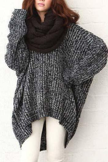 Comfy Over Size Dark Grey Knitted Sweater