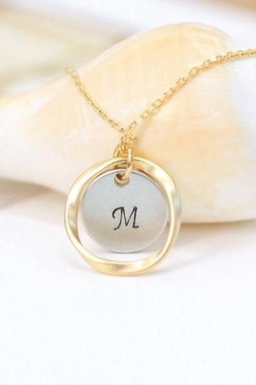 Karma Necklace, Personalized Necklace, coin necklace, friendship gift, initial necklace, initial coin and karma