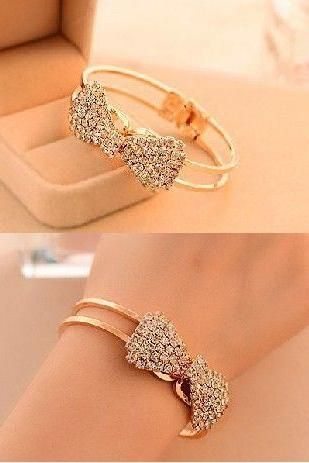 Bow knot alloy evening woman bracelet