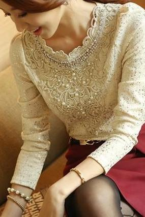 Gorgeous Vintage Design Pearl Beaded Lace Blouse