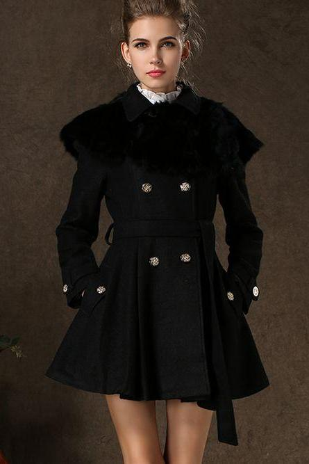 Black Double Breasted Pleated Winter Coat