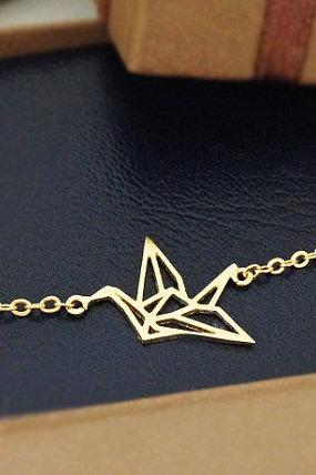 Origami Bird Bracelet in Gold
