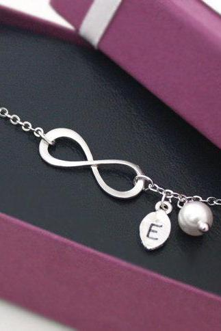 Silver Infinity Bracelet, with Swarovski Pearl and Leaf Initial Bracelet, Bridesmaid Gift, Friendship Jewelry, Elegant Bracelet,Personalized