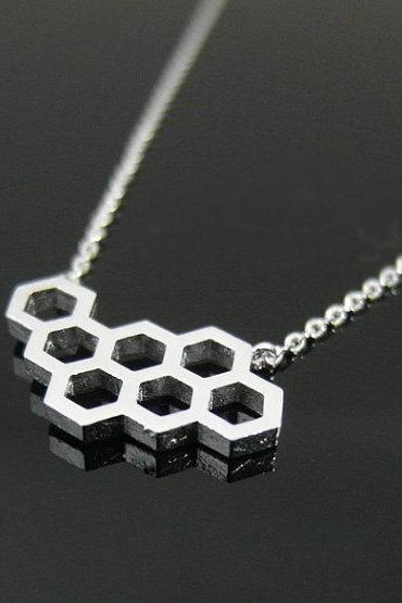 Honeycomb Necklace In Silver, Geometric Necklace, Beehive necklace
