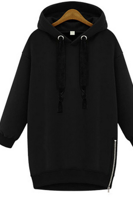 Black Hooded Long Cuffed Sleeves Oversized Pullover Featuring Side Zipper Detailing