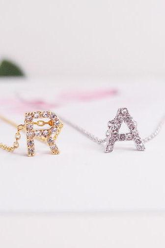 Crystal Signature Necklace, Tiny Crystal Initial Necklace, Shiny and Stunning Alphabet Necklace