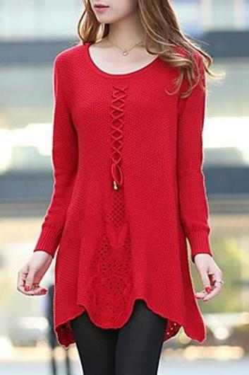 Cute Long Sleeve Round Neck Woman Sweater - Red